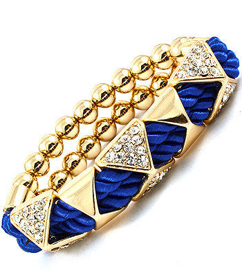 Blue Pyramid Studded Rope Bracelet