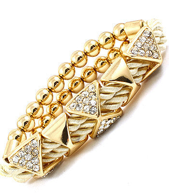 Cream Pyramid Studded Rope Bracelet