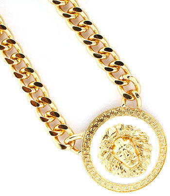 Gold and White Lion Pendant Chain Necklace