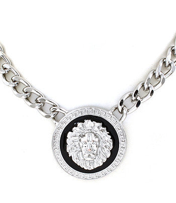 Silver and Black Lion Pendant Chain Necklace