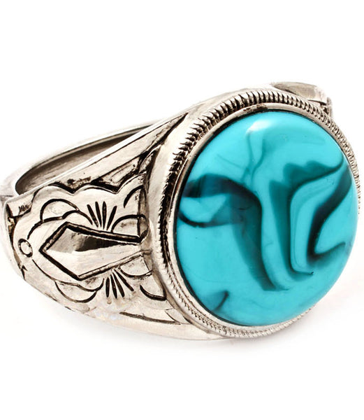 Turquoise and Silver Fold-Over Bracelet