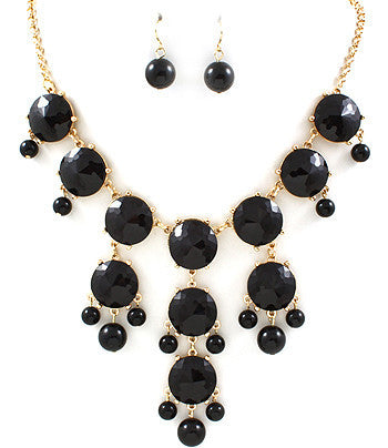 Black Hanging Gem Bib Necklace