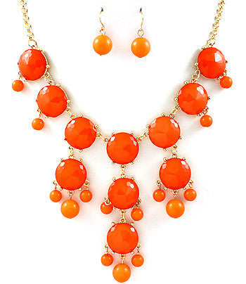 Coral Hanging Gem Bib Necklace