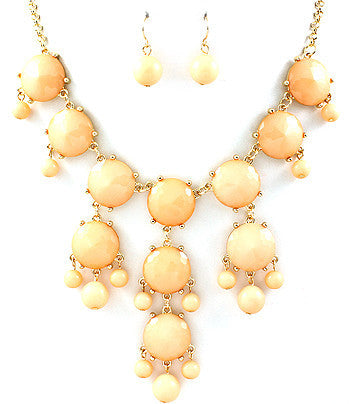 Peach Hanging Gem Bib Necklace