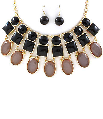 Black Triple Layer Bib Necklace