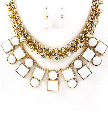 White Chain and Jewels Bib Necklace Set