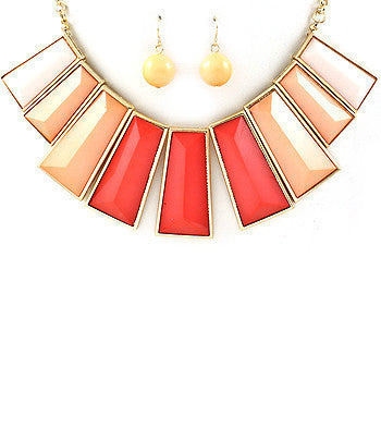 Pink Rectangle Spike Bib Necklace