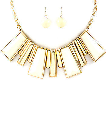 White and Cream Rectangle Spike Bib Necklace