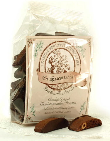 Chocolate Hazelnut (Dark Chocolate Dipped) Biscottini (16 oz.)