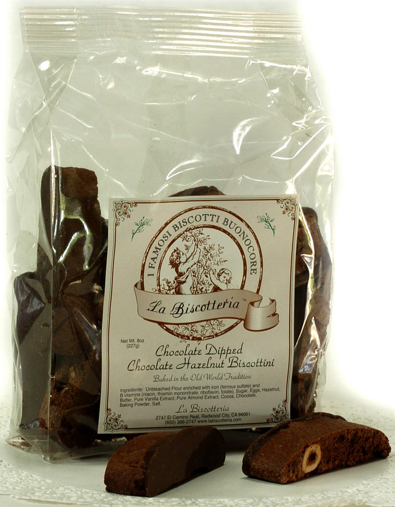 Chocolate Dipped Chocolate Hazelnut Biscottini (8 oz.)