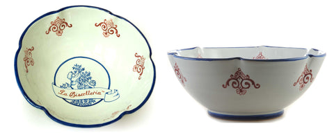 DERUTA BOWL- Classic La Biscotteria Logo (Scalloped Edges)