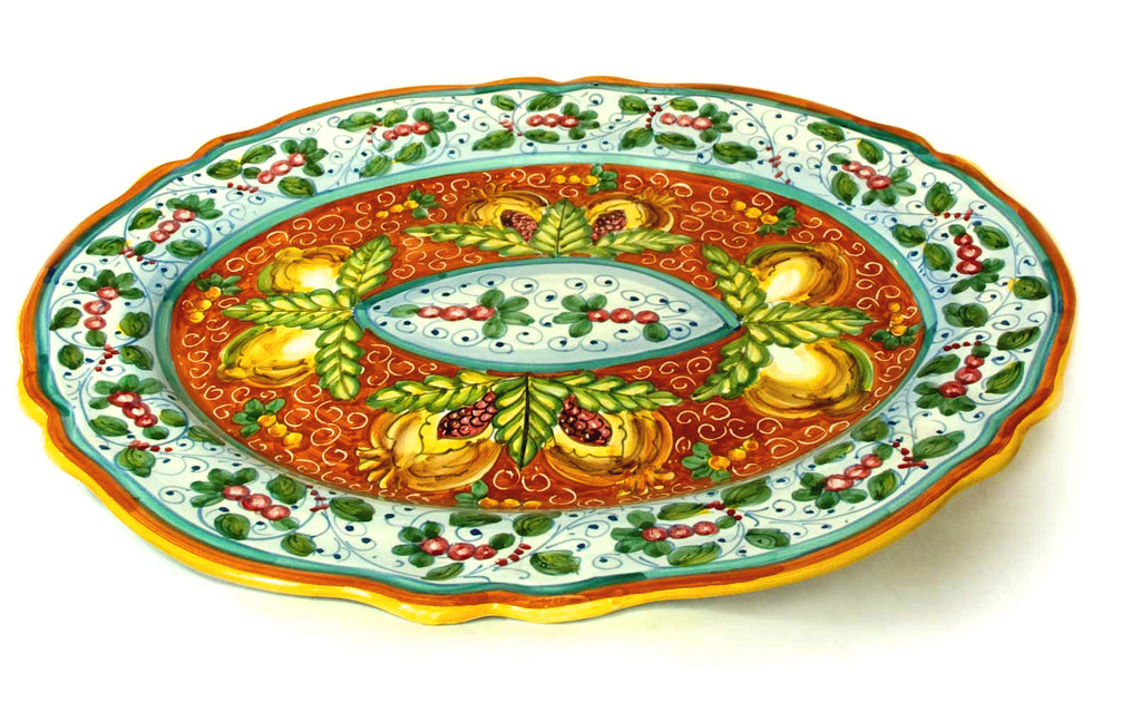 "DERUTA PLATTER - ""Melograno"" Deruta (Scalloped Edges)"