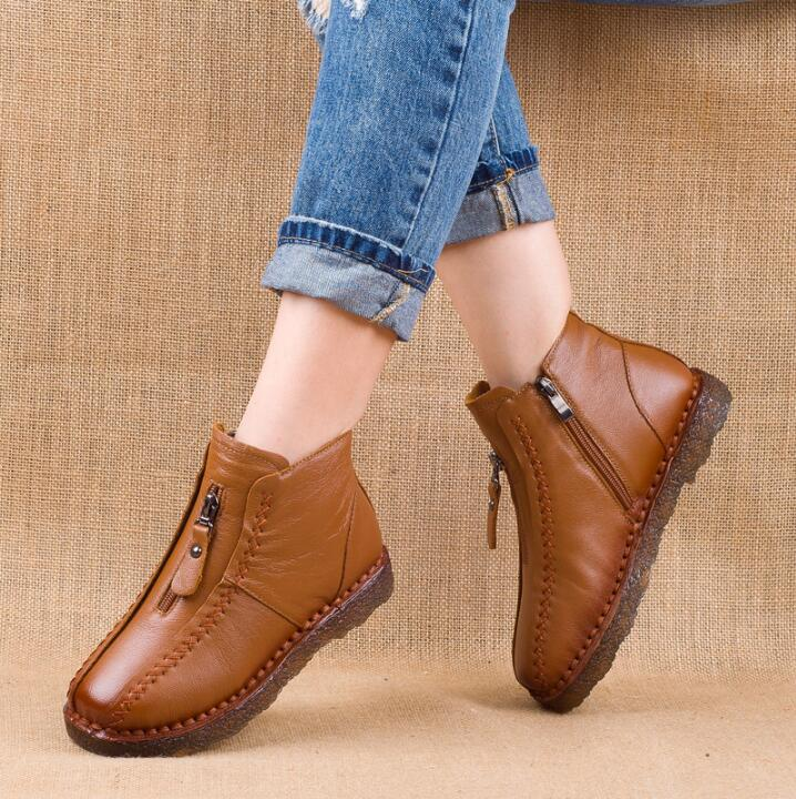 2019 hot sell Winter Genuine Leather Ankle Boots women shoes