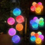 Color-Changing Led Solar Powered Wind Chimes Crystal Ball Outdoor Decor, Yard Decorations