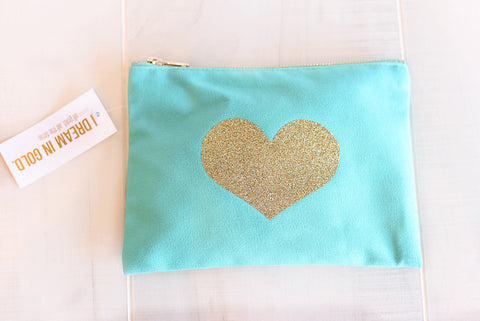 Glitter Gold Heart Cosmetic Bag  - Teal w/zip