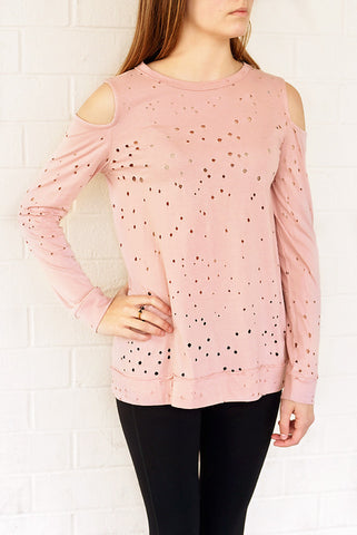 A Peek In To Spring Top - Dusty Pink