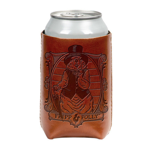 FF Vegan Leather/Neoprene Groundhog Koozie