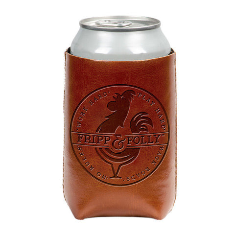 FF Vegan Leather/Neoprene Circle Logo Koozie