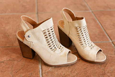 One More Time Open Back Bootie - Cream