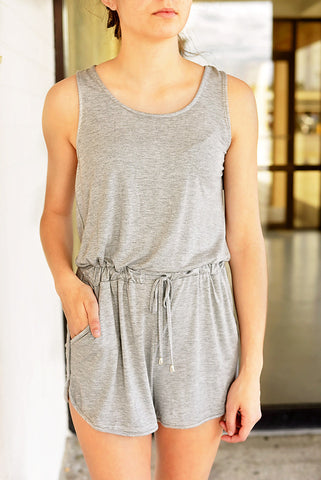 All About Fun Romper- Heather Grey