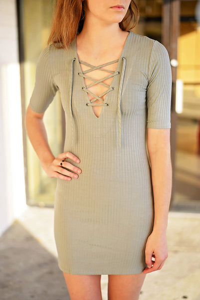 Find A Way Lace Up Dress - Sage