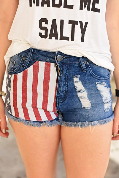 Old Glory Jean Short - American Flag Pocket