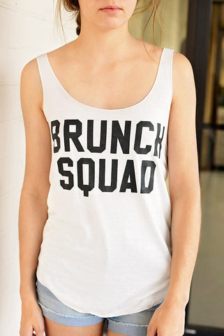 Brunch Squad Graphic Tank- White