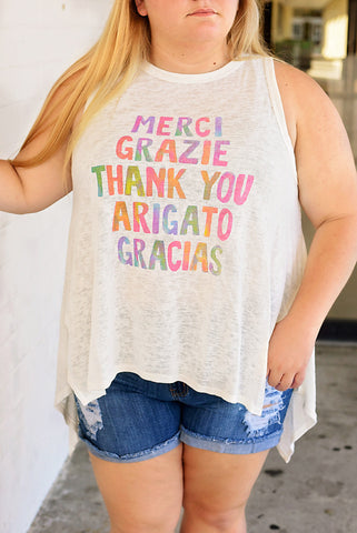 Fluent in Thank You Plus Graphic Tank - Cream