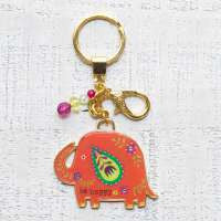 Gold Key Chains Be Happy Elephant