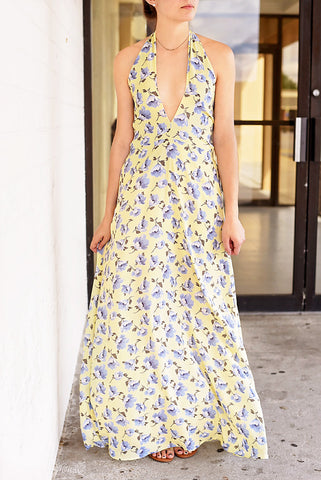 Annabelle Tie Back Maxi Dress - Yellow/Blue Floral
