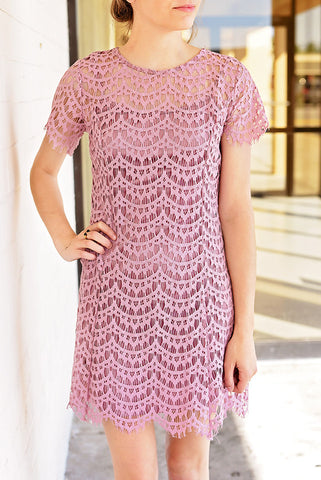 A Little Bit of Heaven Scalloped Lace Dress - Dusty Rose