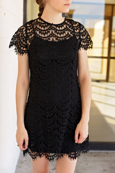 A Little Bit of Heaven Scalloped Lace Dress - Black