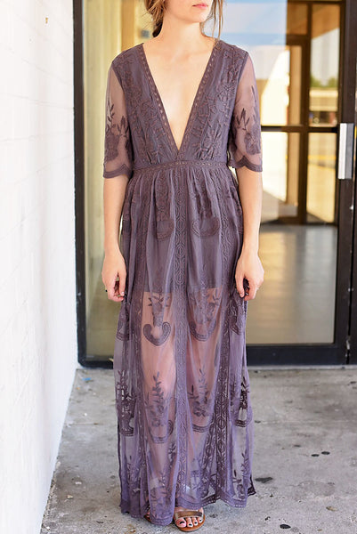Taken To Heart Lace Maxi Dress - Plum