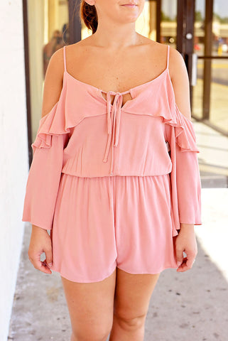 Always On Point Ruffle Sleeve Romper - Rose