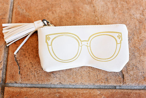 Lucie Sunglasses Case- White