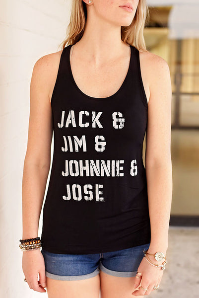 Jack, Jim, Johnnie & Jose Graphic Tank - Black