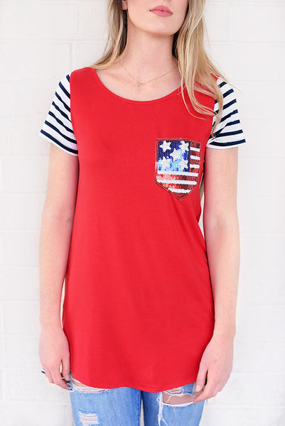 All About Stars & Stripes Top - Red