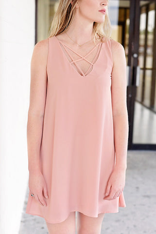 Head Turning Cross Neck Layered Dress - Blush