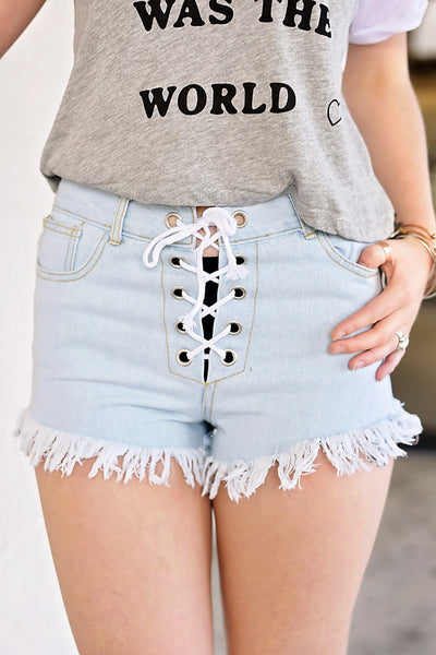 Lace Me Up Denim Shorts - Lt. Blue