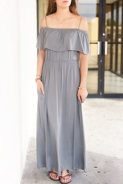 Crowd Pleaser Maxi- Grey