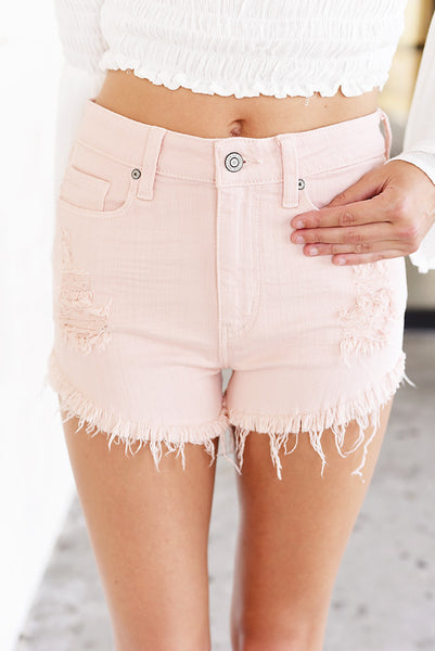 Lulu High Rise Cut Off Shortie - Pink