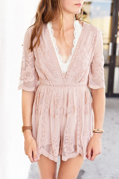 Short & Sweet Romper- Blush