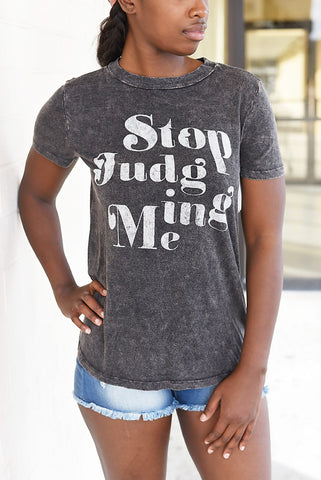 Stop Judging Me Mineral Wash Top - Charcoal