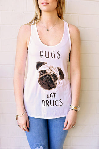 Pugs Not Drugs Tank - Ivory