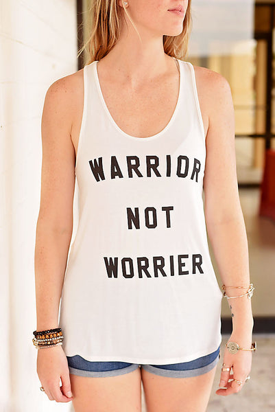 Warrior Not Worrier Graphic Tank - Ivory