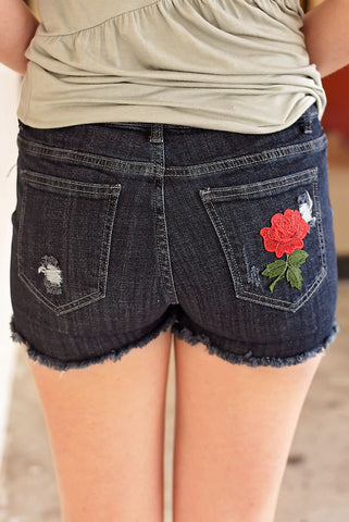 A Rose For View Denim Shorts - Dark Denim