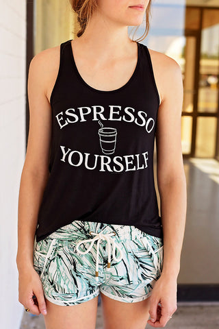 Espresso Yourself Graphic Tank - Black