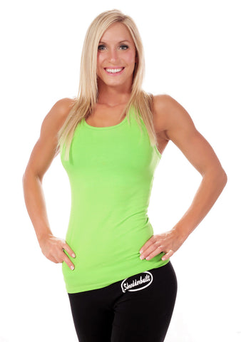 Racerback Tank Tank Top with Comfort Band Self Bra and extra length for a Great Workout!