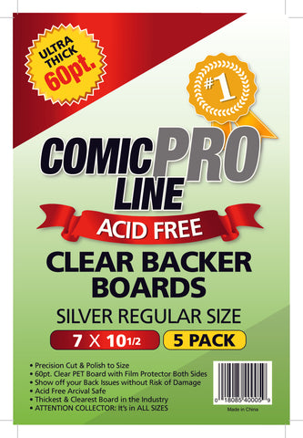 Comic Pro Line Silver Clear Boards 5-pack
