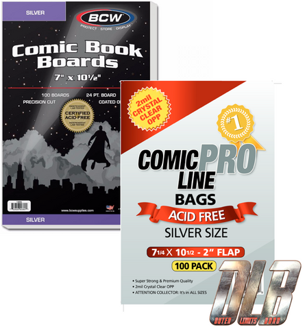 2mil Crystal Clear Silver OPP Bags // BCW Comic Boards Silver Size 100pk Bundle